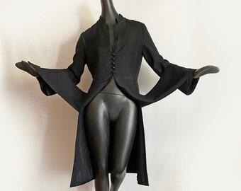 MoD Carwash Hem Black Vintage 60s Coat • Nehru Collar Bell Sleeves Unique Front Slits • Rockabilly Pin Up Mad Men Couture • Size Medium M
