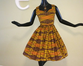 Vintage 60s Tiki Tribal Dress 50s Style 1960 Rockabilly Bombshell Pin Up Pinup Swing Dance Circle Skirt Space Age Hawaiian Tiki Oasis Print