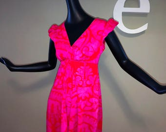 a5a4ca0118b Vintage 60s Jumpsuit MOD Hawaiian 1960s NEON Pink   Red Palazzo Pants Romper  Onesie Psychedelic Tiki Oasis Beach Luau Maxi Dress Look Small