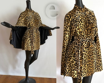Ultimate Vintage 50s 60s Leopard Cape • Rare Belted with Pockets  Animal Print Thick Velvet style Faux Rur • Sexy Rockabilly Pin Up Couture