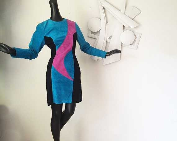 Suede Leather New Wave Disco Dress MOD swirl design black spadex woven side panels for body con greatness! W for Wilsons Leather Medium