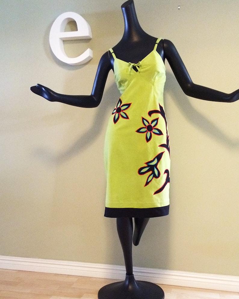 4e18d3e8a753 Kiwi Green Hippie Boho Summer Hawaiian Dress Flower Power Tiki   Etsy