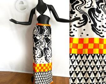 Vintage 60s MOD Maxi Skirt • Neon Orange Yellow Checkerboard + Abstract Black & White Psychedelic Print • Hippie Boho Hawaiian Tiki Oasis M