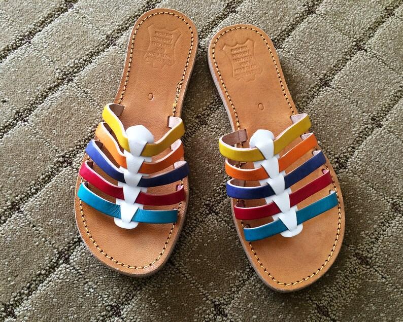 0e5d718bd4d8 Rainbow Pride Vintage Huaraches Woven Leather Sandals Shoes Colorful Stripe  Colors MINT Condition NOS Deadstock Mexican Mexico Size 8 9