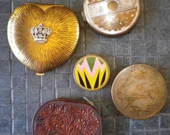 Lot of 5 Art Deco Compact Powder Tins Evans heart leather Makeup Containers Vintage Antique Decorative Bedroom Decor 1920s 1930s 1940s 1950s