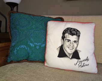Vintage FABIAN Pillow 1960s 50s 60s Collectible Souvenir Pop Star Musician Heart throb Mad Men Era Bedroom Decor Kitsch Music Collection