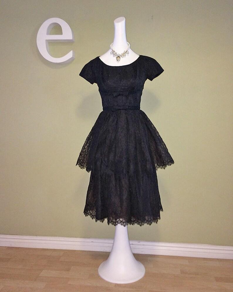 4f0e9e5fa30c Vintage 50s Rockabilly Dress 1950s Black Lace Prom Dress Sexy   Etsy