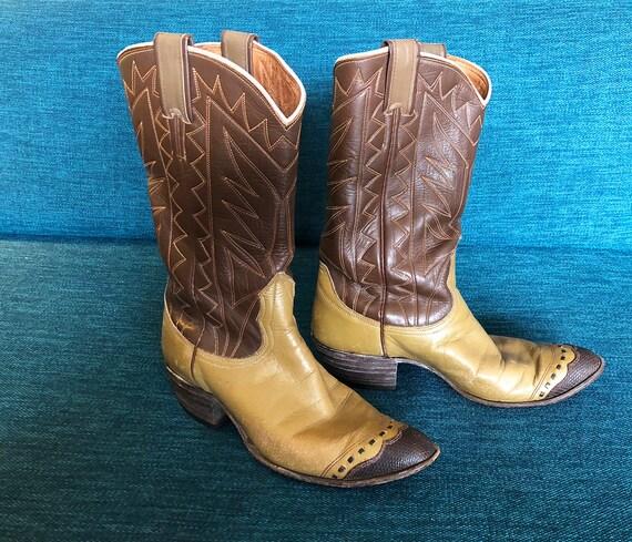 Damen Vintage 60er Jahre Cowboy Stiefel 1960er Jahre Rockabilly Western Fancy Toe zwei Ton braun & Tan Frauen Frau Ladie Lady Damen Größe 7 Nocona