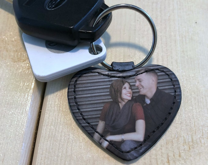 Faux Leather Picture Keychain
