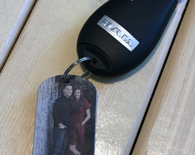 Two Sided Picture Dog Tag Keychain