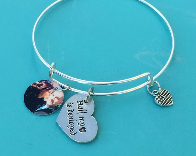Half My Heart Is Deployed Charm Bracelet