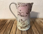 Antique White Pink and Gold Hand Painted Pitcher
