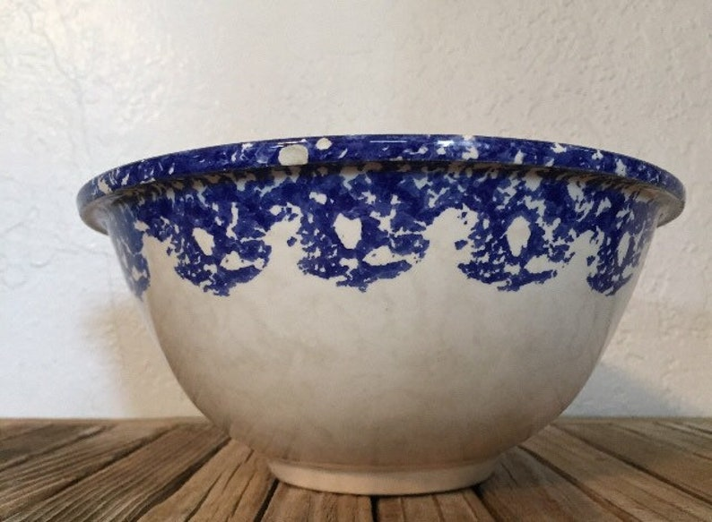 Vintage Farmhouse Bowl Blue and White SpongeWear Made In Portugal