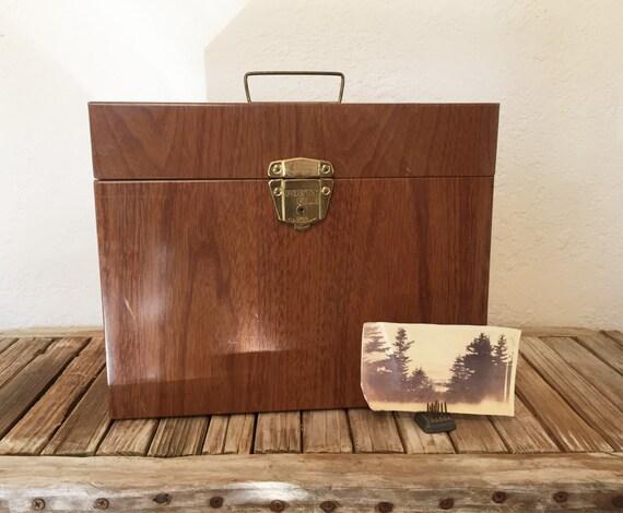vintage porta file box wood grain faux bois etsy. Black Bedroom Furniture Sets. Home Design Ideas
