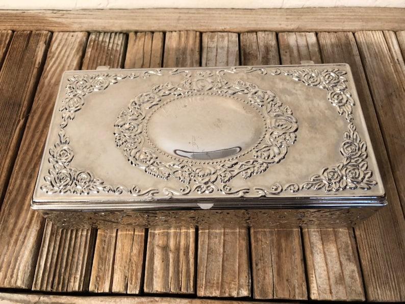 Vintage Shiny Silver Ornate Silver Jewelry Box