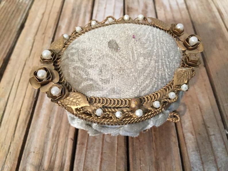 Vintage Gold Pale Green Velvet Pearl Trinket Box