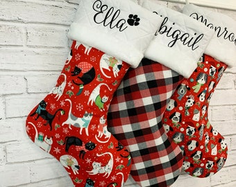 Cat & Dog - Red Black Plaid Collection I  - Personalized Christmas Stockings - Wedding Gift, Baby Bridal Shower, New Pet Child Adult