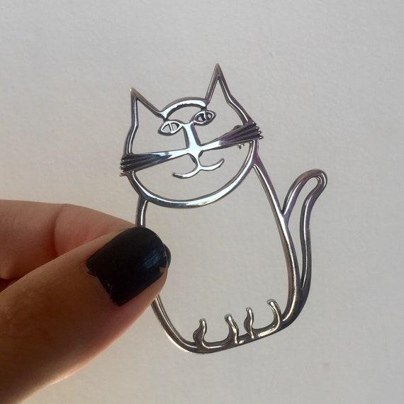 Navajo artist Belinda Woody sterling cat pin