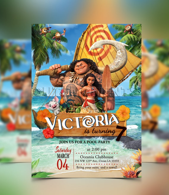 Moana Birthday Party Princess Invitation Disney