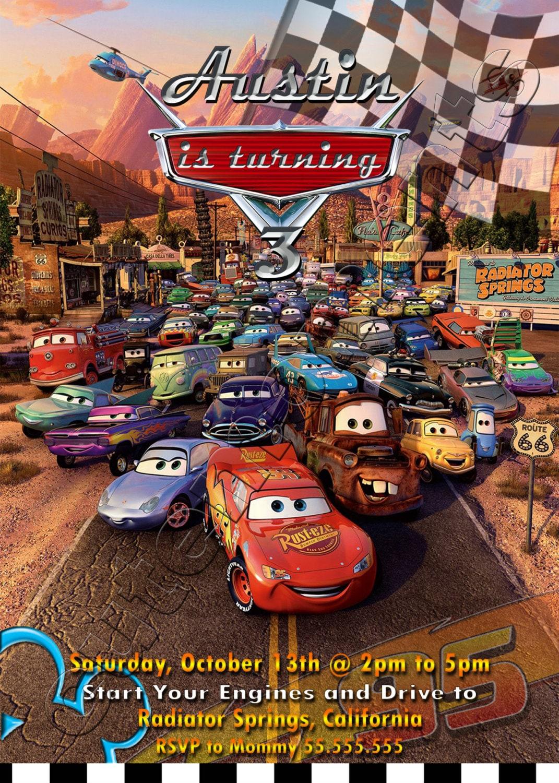 Disney Pixar Cars Personalized Birthday Party Invitation | Etsy