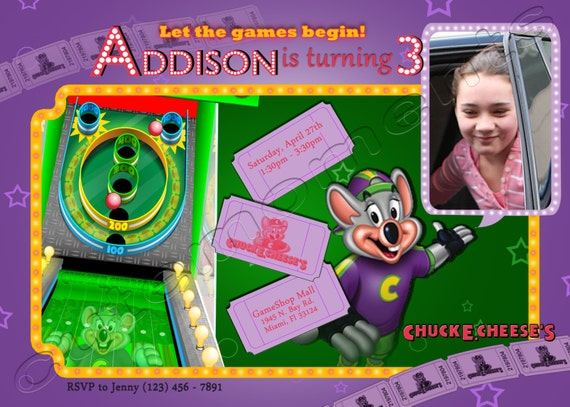 Girl Chuck E Cheeses Arcade Birthday Party