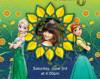 Disney Frozen Invitation - Frozen Fever Invitation, Frozen Summer Invitation, Disney Frozen Birthday , Frozen Fever Invite, Elsa, Ana & Olaf