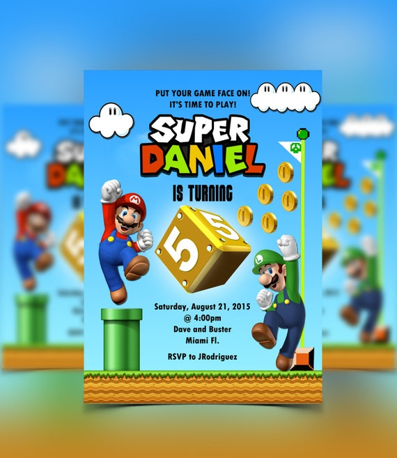Super Mario Invitation Mario Luigi Mario Bros Birthday Mario