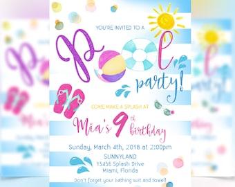 Pool Party Birthday Invitation, Pool Party Invitation, Digital File Only, Summer Birthday Invitation,Pool Birthday Party, Pool Party, Summer