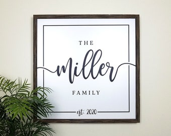 Farmhouse Family Name Sign, Personalized Last Name Sign, Personalized Wedding Anniversary Gift, Wood Established Sign