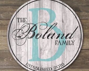 Wooden Family Sign, Personalized Family Established Sign, Wood Last Name Sign
