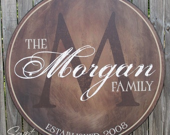 Personalized Family Name  Wood Sign, Family Established Sign, Last Name Sign, Wood Name Plaque With Established Date & Monogram, 4 sizes