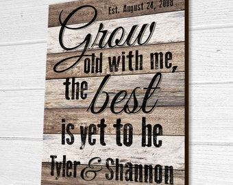 Personalized Wood Established Sign, Grow Old With Me The Best Is Yet To Be, Wood Wedding Sign, Personalized Wood Name Sign