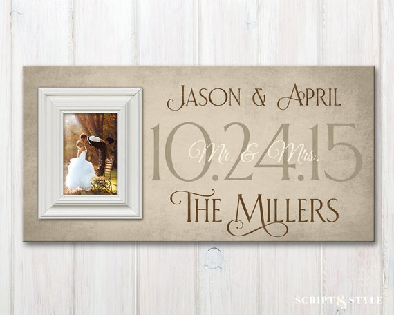 Personalized Wedding Wood Picture Frame with Wedding Date   Etsy