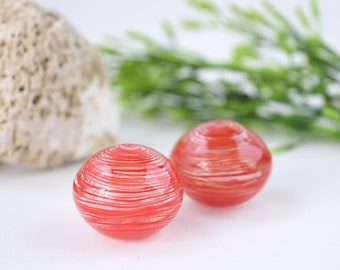 Red striped beads , striped glass beads , striped lampwork beads , red bead pair , red glass beads , murano glass beads , sra lampwork beads