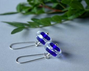 Blue glass earrings , lampwork earrings with silver ,  boho earrings , unique gift , artisan earrings , blue lampwork earrings , handmade