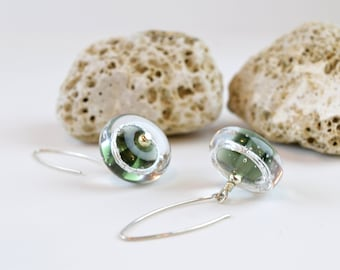 Gray glass earrings , lampwork earrings with silver , art glass beads , glass jewelry , artisan earrings , murano glass, lampwork glass bead