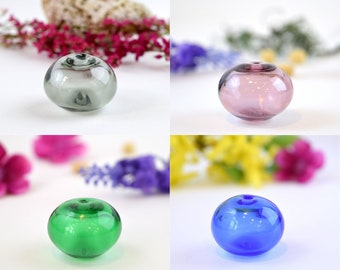 Lampwork hollow bead, Murano blown bead, Handmade bead