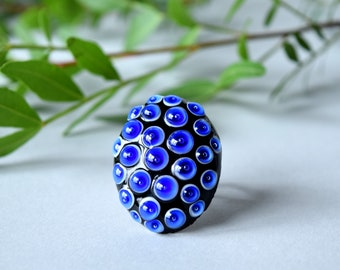 Murano glass ring , blue glass ring , bumpy glass ring , artisan lampwork ring , blue lampwork ring , polka dot glass ring , sra lampwork