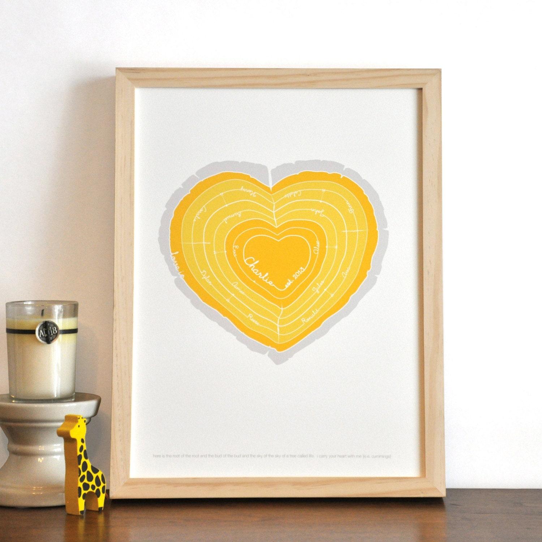 Heart Stump Modern Family Tree Rings nursery wall art print . | Etsy
