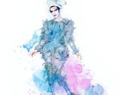 David Bowie - Ashes to Ashes - Blue Pierrot Watercolor - Starman Blackstar Clown Ziggy Stardust Thin White Duke