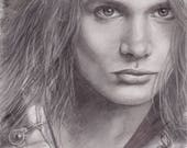 Sebastian Bach - Skid Row -  Black and White Portrait 9x12