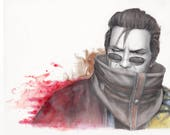 Auron of FFX Watercolor -...