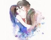 Watercolor - Rinoa Heartilly + Squall Leonheart of FFVIII - Final Fantasy 8 - FF8