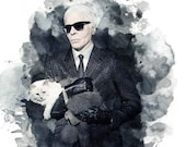 Karl Lagerfeld & Choupette - 9x12 Watercolor Portrait - Chanel Fashion