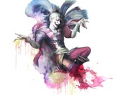 FFVI - Kefka Palazzo - 9x12 - Watercolor Portrait- FF6 - Dissidia, The Joker, Clown, Jester
