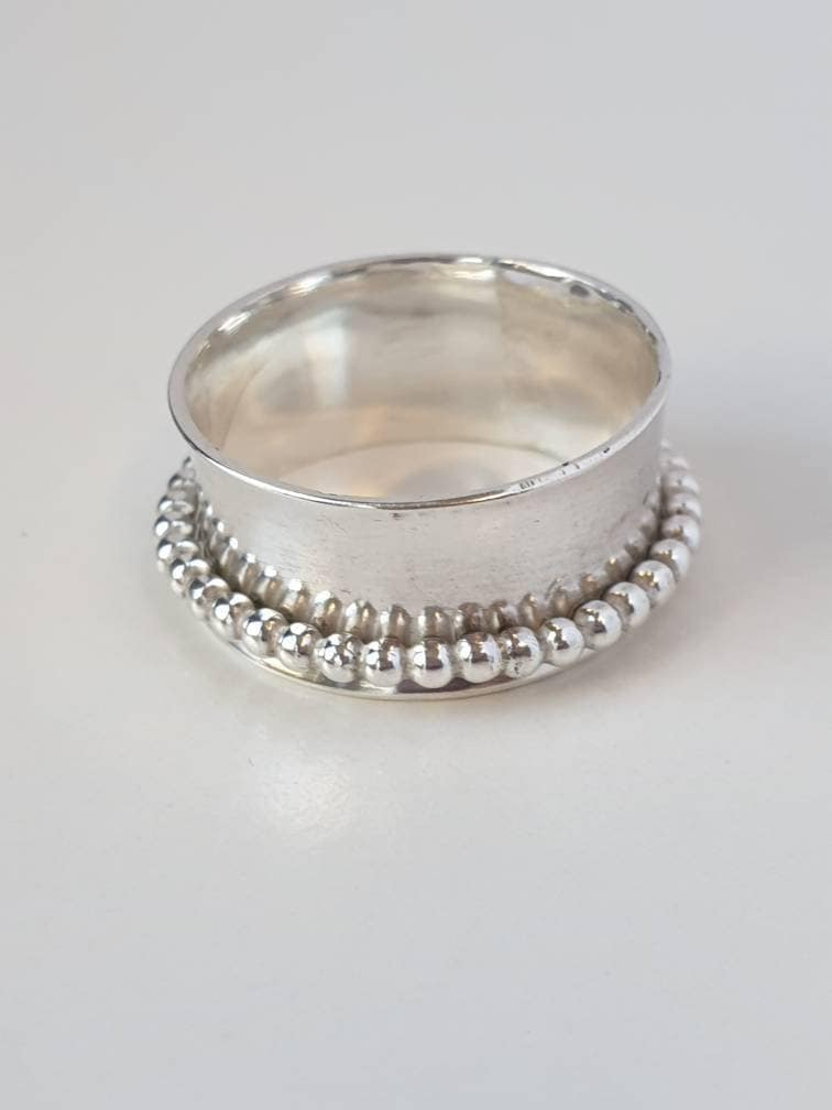 Sterling,Silver,Beaded,Ring,Spinner,Jewelry,Sterling_silver,ring,spinner_ring,kinetic_jewellery,worry_ring,fidget_ring,moveable_jewellery,beaded_ring