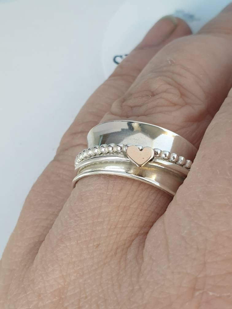 Rose Gold Heart, Beaded Ring, Spinner Ring - product images  of