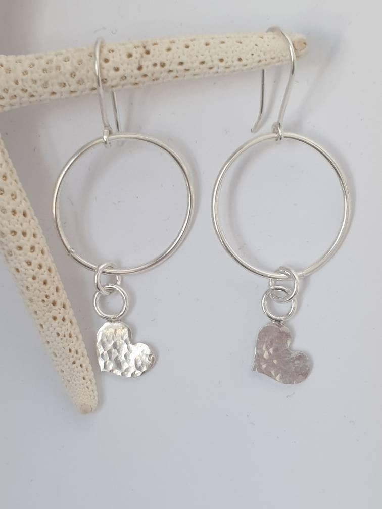 Sterling,silver,hoop,heart,dangle,drop,earrings,Jewelry,Earrings,heart_dangle_earring,heart_earrings,hammered_silver,textured_earrings,heart_hoop_earring,textured_heart,hoop_earrings,texture_hoop_heart