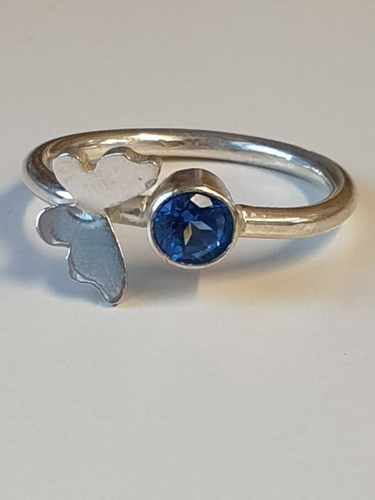 Butterfly,Blue,Crystal,Ring,Jewelry,Sterling_silver,ring,nature_ring,butterfly_ring,crystal_butterfly,butterflies,Silver,Cubic zirconia