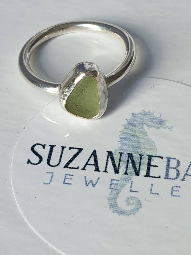 Cornish seaglass silver gemstone ring